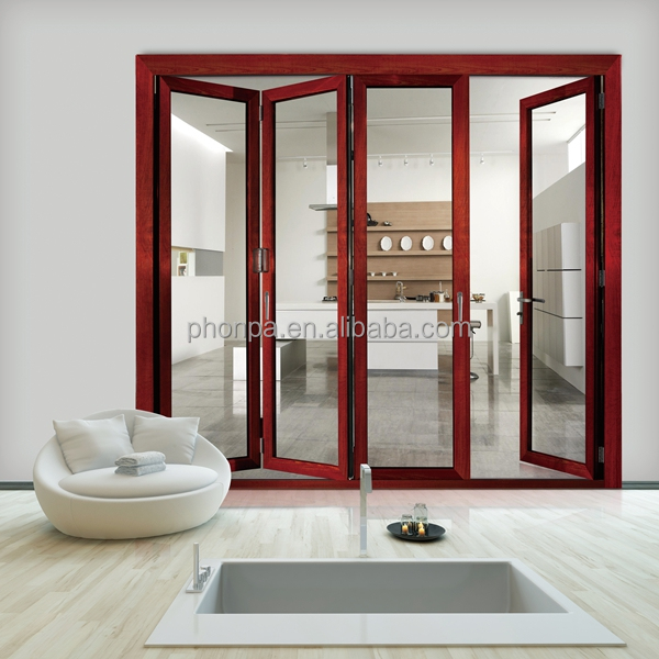 Factory price aluminum frame glass folding door/double tempered glass bifold door on alibaba china