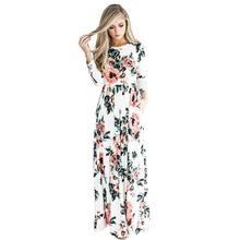 Summer Ladies Long Printing Flower Long Sleeveless White Evening Dress