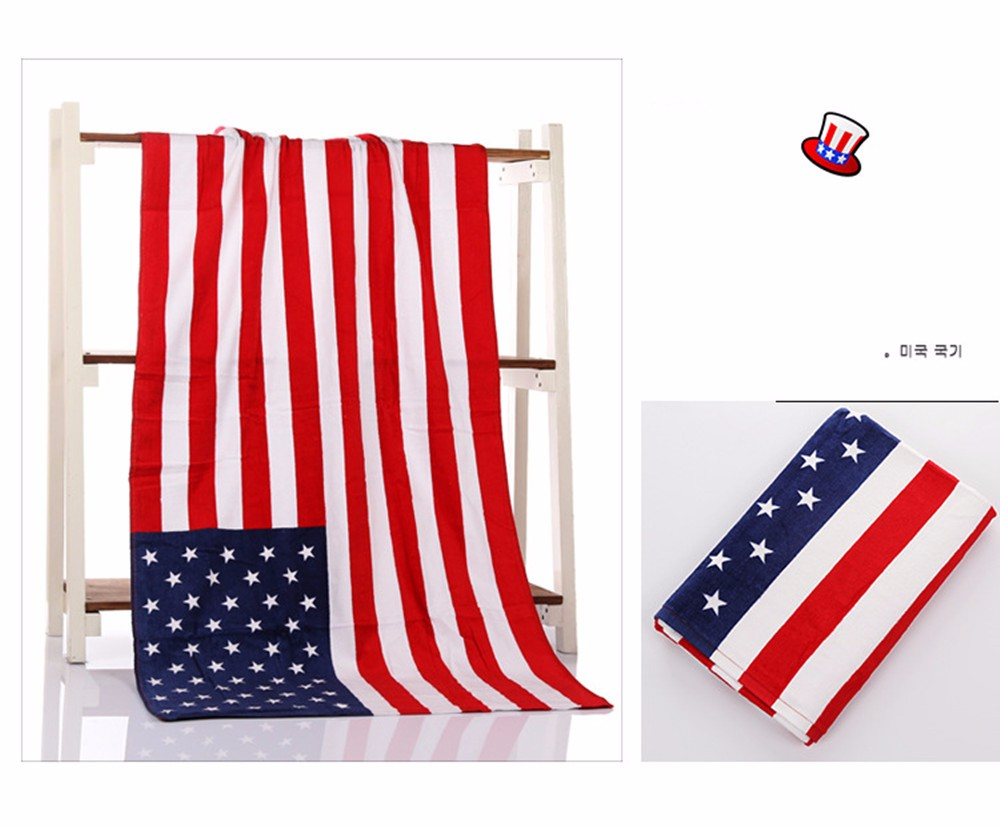 American British flag design bath towel 140x70cm absorbent cotton beach towel drying washcloth swimwear shower towels