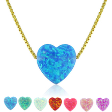 925 Silver Women Fancy Design 24 Karat Gold Heart Fine Opal Stone Pendant Necklace For Girl