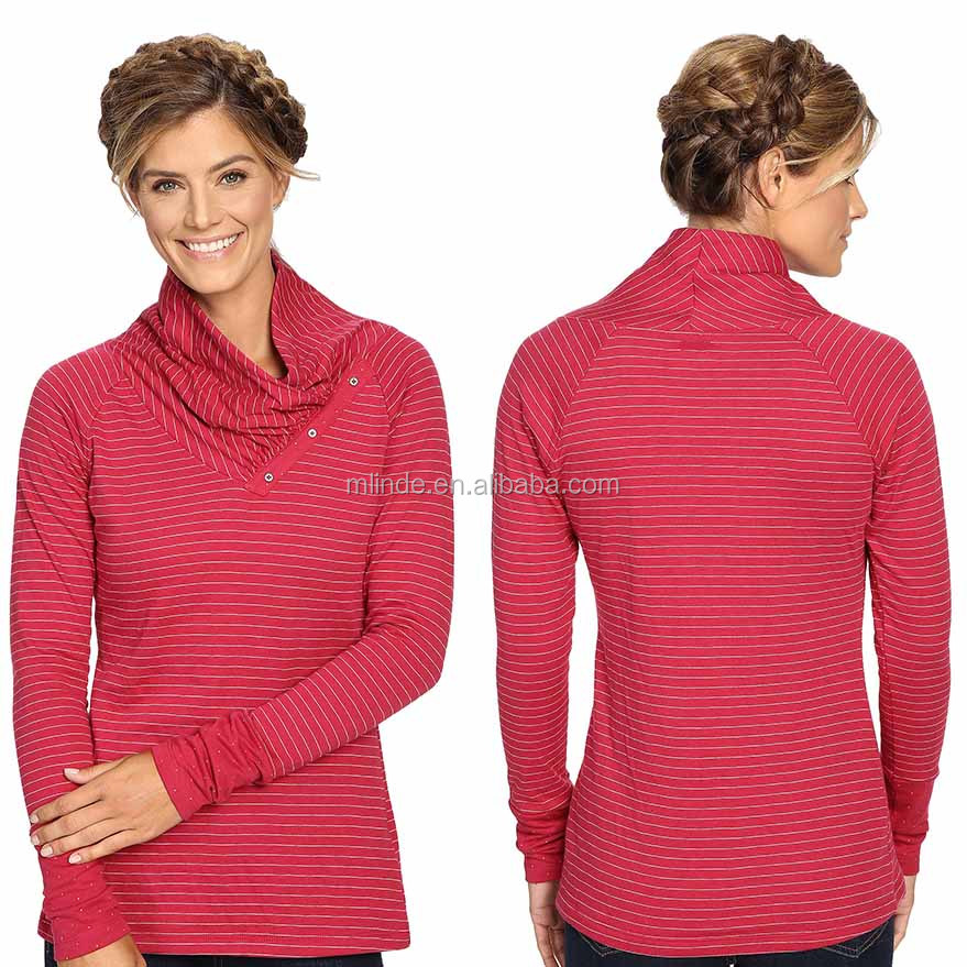 OEM Clothing Manufacturers Overseas 100% Cotton Striped Turtle Neck Women Tunics Fashionable Blouse Back Neck Embroidery Design