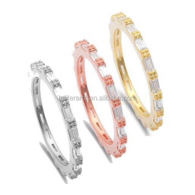 Yellow/Rose Gold Plated 925 Sterling Silver Cubic Zirconia CZ Bar Set Baguette Cut Diamond Stackable Eternity Ring