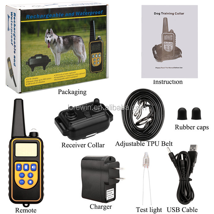 Lorewin LY-880 Pet Dog Rechargeable collar and transmitter IP7 Waterproof 100Level Shock Vibration remote Dog Training Collars
