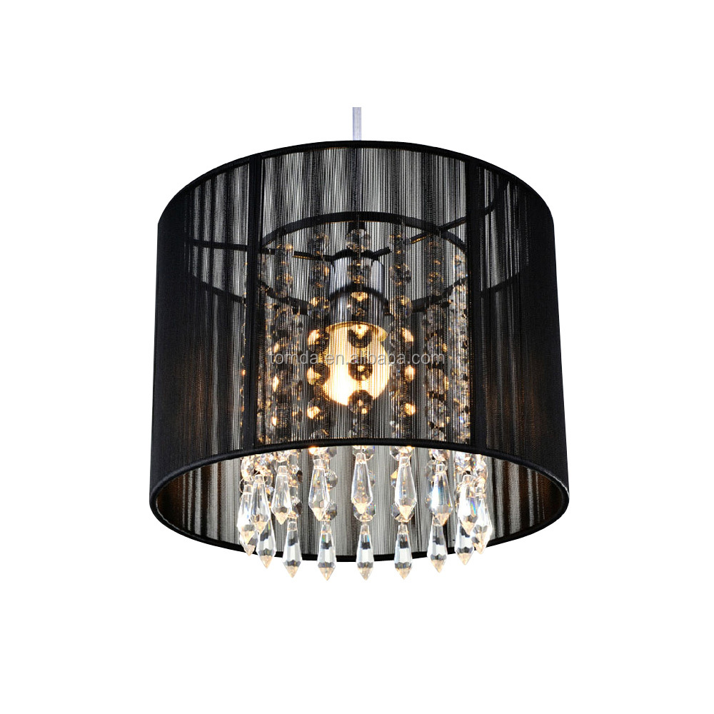 Contemporary Drawing Black Silver Crystal Chandelier Pendant Light
