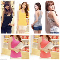 New Women's Ladies Crochet Hollow-out Lace Vest Tank Tops Shirt Blouse Camisole