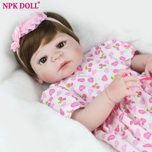 Full Body Silicone Baby For Sale 55cm Reborn Baby Dolls Girl Hair Wigs Lifelike Babies Princess Doll