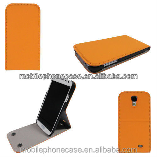 Classic design flip cover pu leather mobile phone case for Samsung galaxy s4