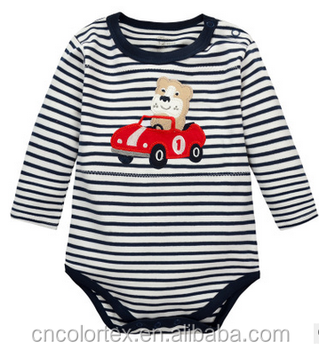 Baby striped long sleeve bodysuit with embroidery