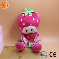 customized sitting strawberry shortcake with ring plush toy/stuffed mascot doll for promotion premiums or souvenir