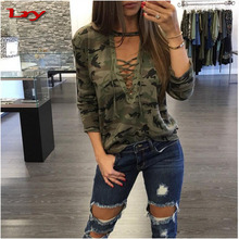 Autumn beautiful blouses for women sexy clothing blouse with Deep V low breast band long sleeves