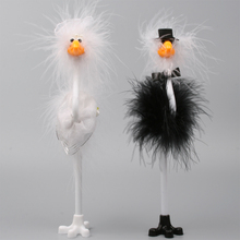 INTERWELL BP243 Groom And Bride Flamingo Pen,Wedding Ostrich Bird Pen,Fluffy Groom And Bride Pen