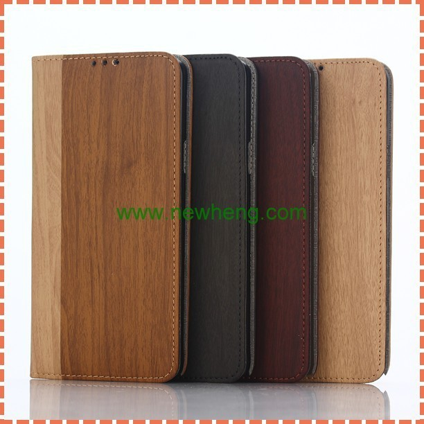 Wholesale wood grain PU leather mobile phone cover flip wallet case For Samsung Galaxy Note 5