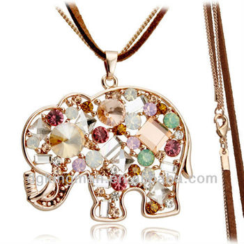 Fashion Rose Gold Plating Austrian Crystal CZ Elephant Necklace