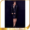 2014 black long sleeves juniors sexy cocktail party dresses pu leather