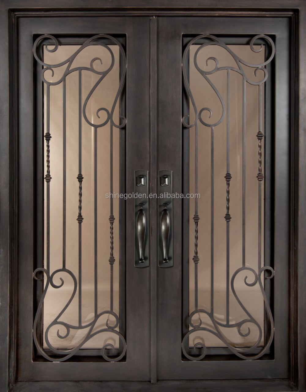 Customized wrought iron door with tempered glass SG-15D036