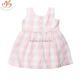 Pink Plaid Kids Dress with Buttons Down