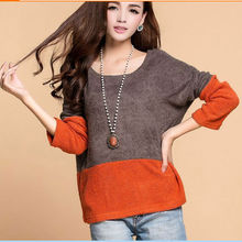 D23182Q 2014 NEW DESIGNS AUTUMN ROUND COLLAR LOOSE KNITWEAR,FASHION JOKER WOMEN SWEATER