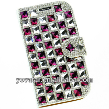 Deluxe White Crystal Diamonds Bling Claw Set Purple Glass Flip Manmade PU Leather Wallet Case Cover for Iphone 5 5S
