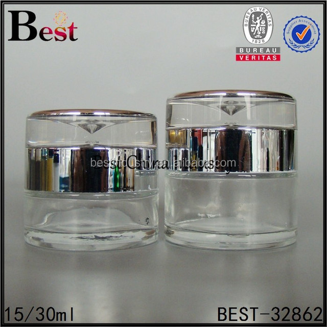 Jars- clear glass bottles/containers for cosmetic -2015 quality no-refillable silver collar,village design ,oem size-alibaba hot