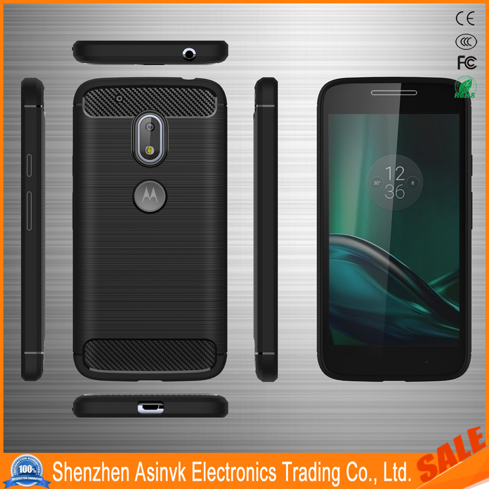 ipaky Wire Drawing Case Shockproof Carbon Fiber Protective Silicone Case for Motorola Moto G4 Play