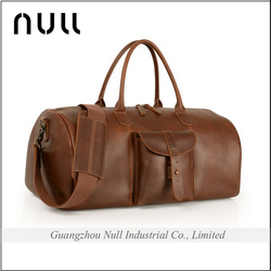 With Front Porket Trend Fashional High Standard Brand Name Men Leather Travel Bag Parts