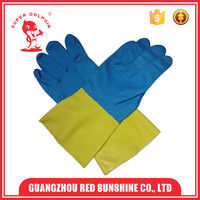 Blue Neoprene And Yellow Latex Industrial Working Gloves