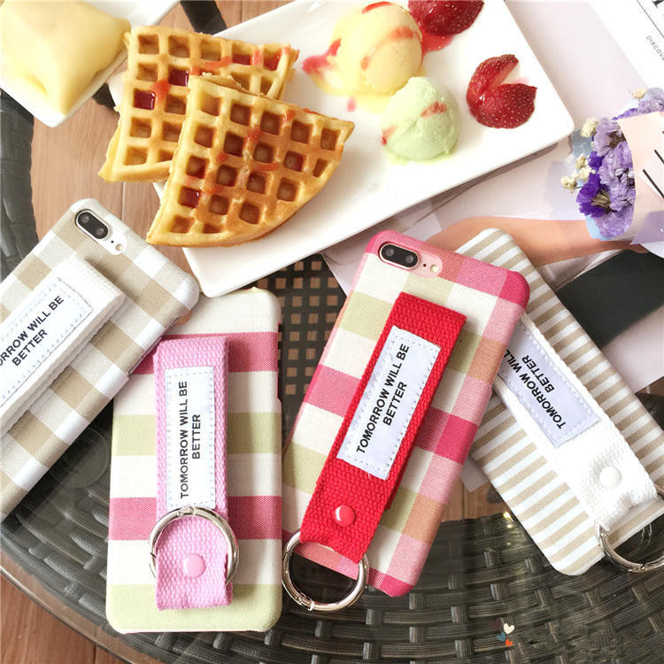 For iphone 7plus /6plus England lattice pattern with Korean style wristband couple case simple hard pc phone case
