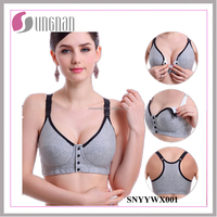 2016 Anti-sagging 100% Cotton Buckle Front Opening Wireless Nursing Bra
