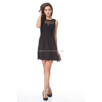 Elegant black chiffon illusion neck sleeveless evening party formal dress
