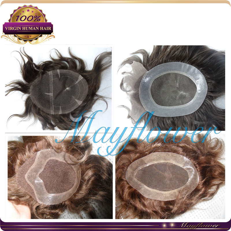 virgin human hair toupee for women men hair pieces hair systems hair replacement lace thin skin base