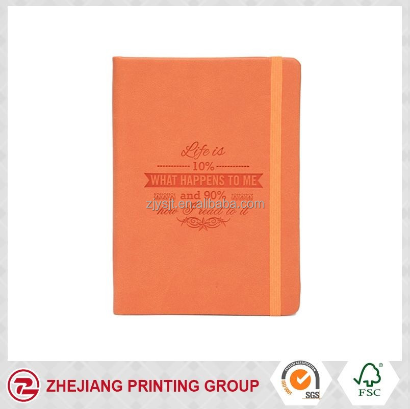 Fashion orange leather cover A5 hard cover dairy
