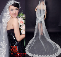 1-5 Meter Champagne/white/red/ivory color Long Single-layer Embroidery Lace Bridal Wedding Veil