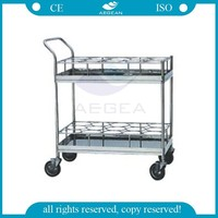 AG-SS021 CE ISO metal frame water bottle hospital instrument steel trolley