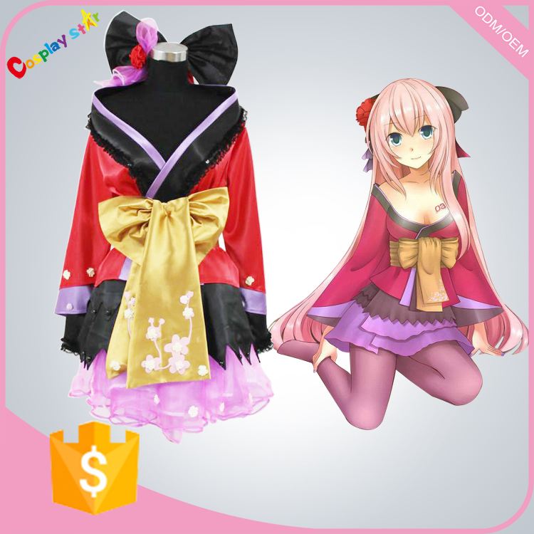 Japanese Girl Dress Vocaloid Project Diva Geisha Luka Cosplay Costume for free shipping