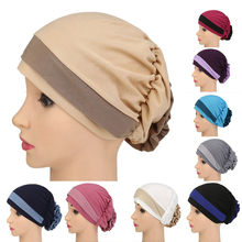 100% Polyester inner cap Adjustable Solid Colors hijab cap
