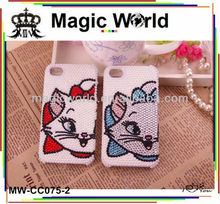Sweet cat style 3d bling pearl phone case for samsung galaxy note 2