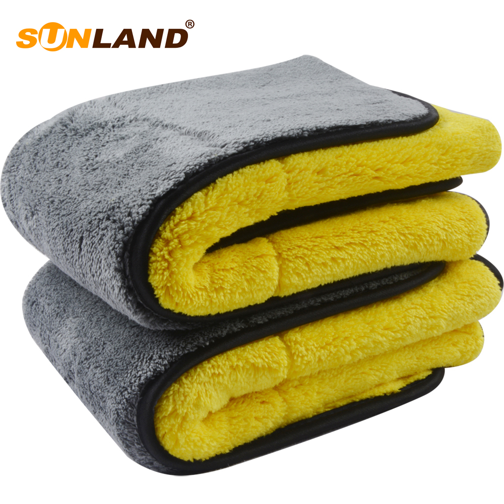 Sunland 1000 gsm Cheap Absorbent Plush Fast Drying Microfiber <strong>Towel</strong> Car Cleaning Wash <strong>Towel</strong>