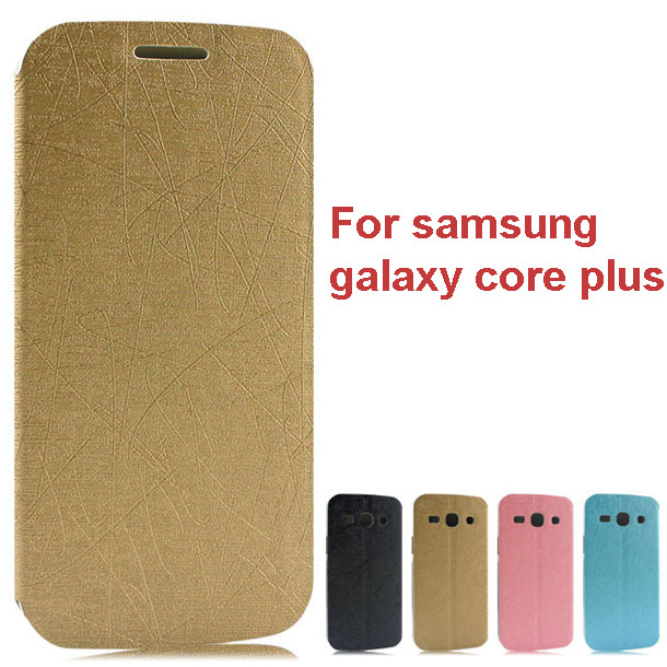 New product flip leather cover case for samsung galaxy core plus with stand function