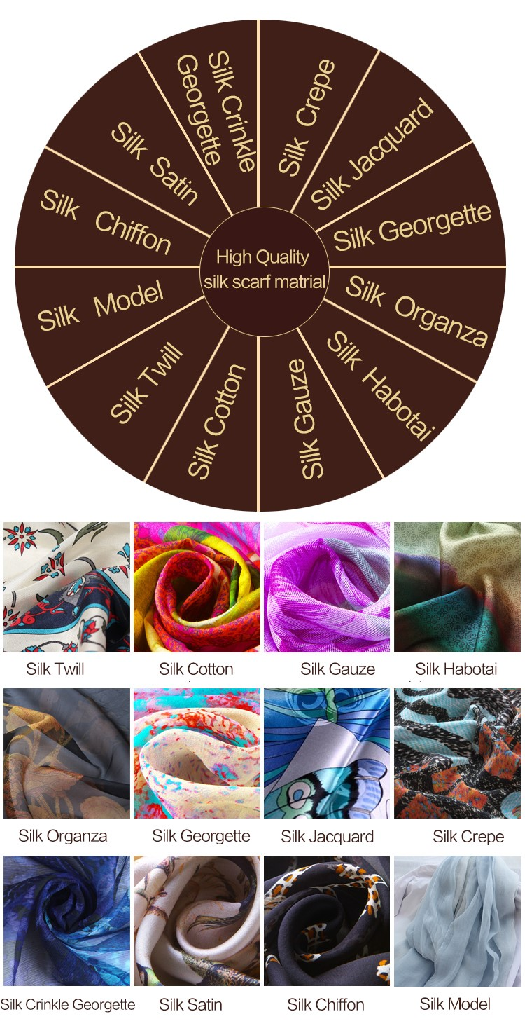 Printed korean silk scarf designer scarves