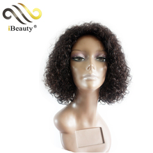 Natural color afro kinky curly bob style human hair wig