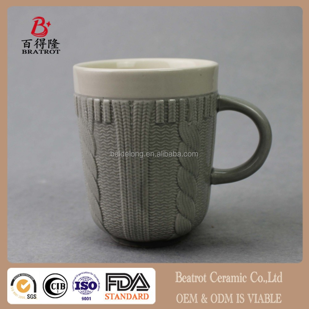 Beatrot Ceramic Creative emboss colorful wool sweater mug /cup Wool mug