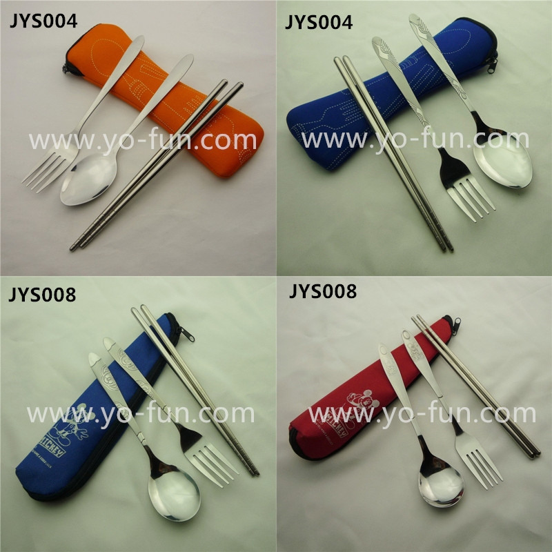 JET038 portable 3pcs a bag stainless steel travel cutlery