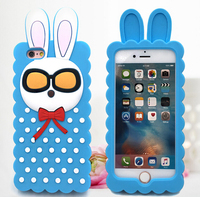 Long ear rabbit silicone mobile phone cover,Lovely glasses rabbit silicone mobile phone cover,Custom cartoon mobile phone cover