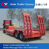 heavy duty transport low loader truck trailer 2 or 3 axles gooseneck low bed trailer for sale