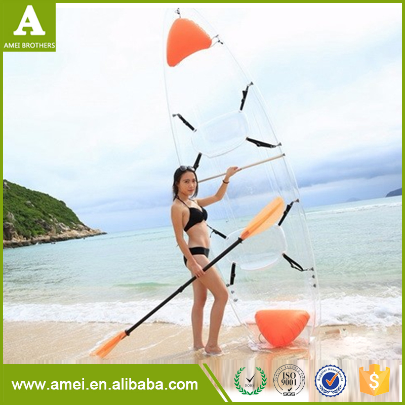 Bottom Transparent PC Material Single Sit on Top Fishing Plastic Kayak Boat