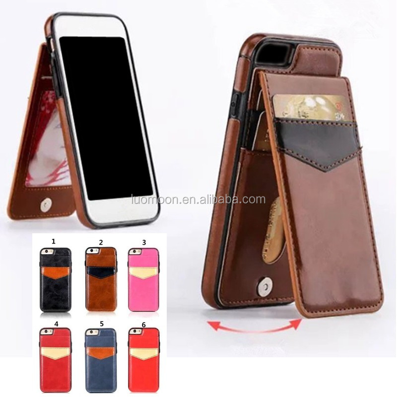 stand leather wallet back cover bumper case with card slots for Apple iphone 5 6 6s 7 7s Plus + A C 4 SE