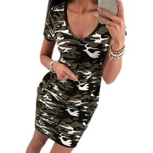 Women Beach Short Sleeve V-neck Dresses Casual Camouflage Mini Dress Summer Bodycon Vestido Sexy Pencil Sundress