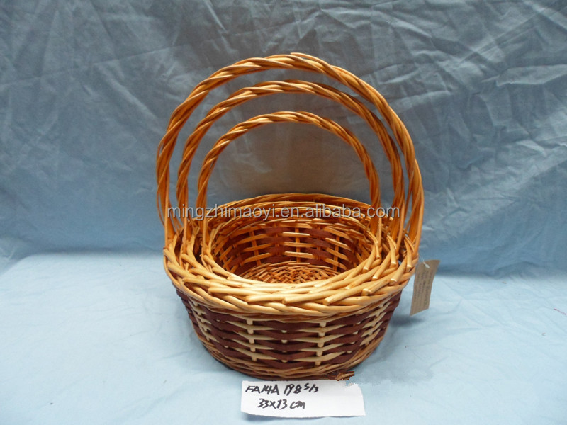 S/3 wicker basket for flower