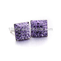 New fashion Purple square crystal silver earrings 7mm