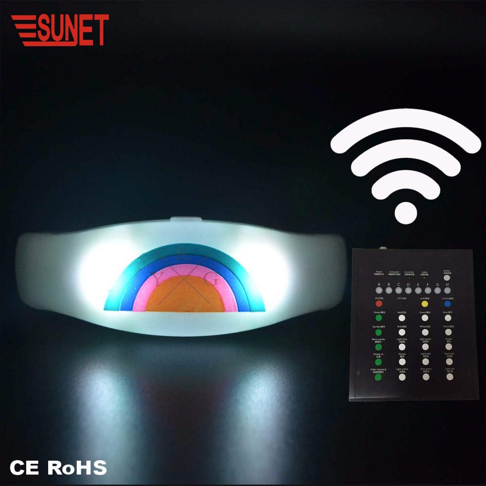 New Product More Functions RGB Colors Custom Radio/Wifi/Rfid Control Led Glow Wristband, Wireless Controlled Led Slap Bracelets